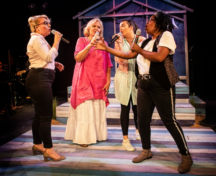 L-R Jodie Jacobs (Rachel), Janet Fullerlove (Joy), Kelly Sweeney (Tamara) & Melanie Marshall (Lou) - Unexpected Joy at Southwark Parkhouse (c) Pamela Raith Photography_008